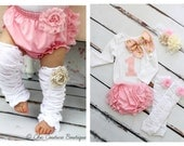 Baby Girl 1st Birthday Outfit Cake Smash Set up to 4 Items ONE & Bow Bodysuit, Lace Bloomers Diaper Cover, Leg Warmers, Gold Lace Headband
