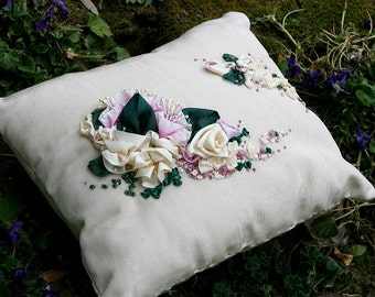 Decorative Pillow Ribbonwork Embroidery Pillow Shabby Chic Home Decor Romantic Gift for Garden Nature Lover - Pink Cream Forest Green