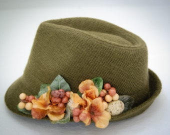 Free shipping, Green Fedora Hat, winter fedora, accessories for women , wool fedora hat, embellished green hat, felt fedora
