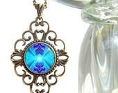 """Purple & Teal Necklace, Reiki Attuned Jewelry, Original Art """"Intuitive Truth"""""""