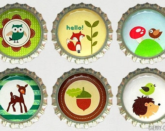 Woodland Animal Magnet Set, 6 Bottle Cap Magnets, woodland baby shower favors, woodland animal birthday gift, forest animals, party favors