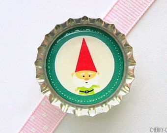 Woodland Gnome Bottle Cap Magnet - woodland baby shower favor, woodland party theme, gnome decor, garden gnome home decor, gnome kitchen