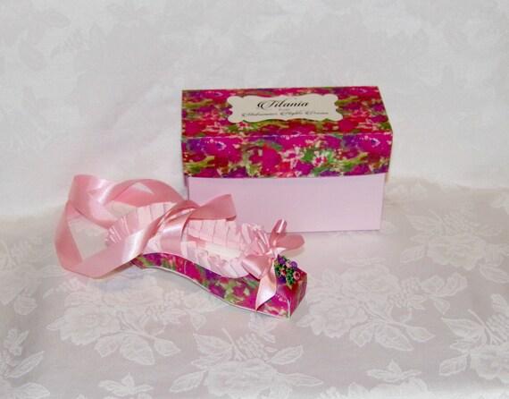 "Paper Shoe Keepsake, ""Titania from Midsummer Nights Dream"" Paper Pointe Shoe  Original Design OOAK, READY to SHIP - A Precious Memory"