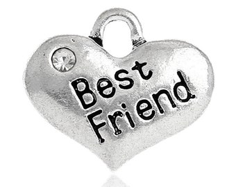 """1 or 2 or 4 or 10 pcs. Antique Silver """"Best Friend"""" charm with rhinestone- 16 mm X 14 mm"""