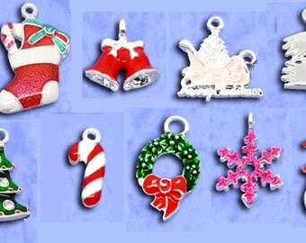18 pcs. Silver Plated Enamel Assortment of Christmas Charms Pendants - 19x8mm to 27x16mm