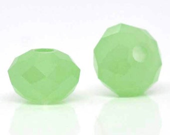 SALE - 70 pcs. Jade Green Crystal Quartz Faceted Rondelle Beads - 8mm