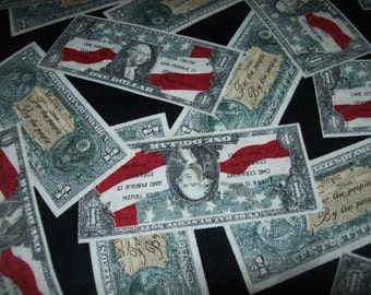 Tossed patriotic Money Fabric/ Novelty Print Dollar Bills Fabric by Rober Kaufman Sold Per Yard