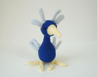 Crocheted Bird Stuffed Collectible Amigurumi Quirky Birdie Soft Sculpture Art Doll