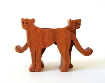 Wooden Cheetah Toy Animals Miniature Wooden Noah's Ark Animal Pairs Zoo Play Set Hand Cut Canarywood