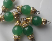 6 X  Vintage Green Jade Bead Connectors with Brass loops, Green Jade Bead connectors, Loose Jade Rhinestone Connectors , Jewelry Making