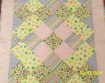 Baby Blanket Pink Yellow and Lavender Girls Nursery Crib Quilt