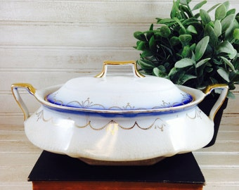 Vintage Gold and Blue Shabby Chic Limoges China Covered Casserole