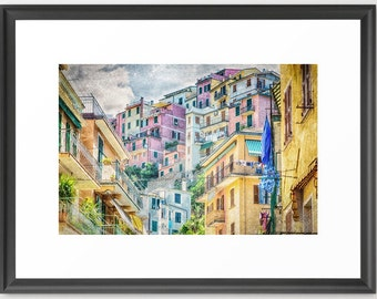 Italy Art, Cinque Terre, Manarola, Architecture, Fine Art Photography, Pastel, Italy, Pink, Orange, Blue, fPOE (6 Sizes) Framed, Canvas