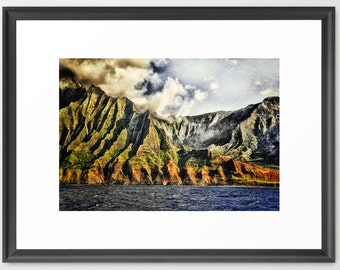 Hawaii Art, Na'Pali, Kauai, Green, Blue, Coast, Island Art, Fine Art Photography, fPOE (6 sizes) Canvas, Framed