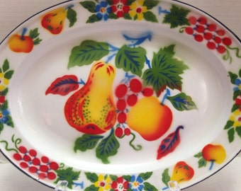 Vintage Rossini Large Enamel Platter Tray with Fruit and Flowers