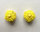 Vintage Bright Yellow Beaded Clip Earrings