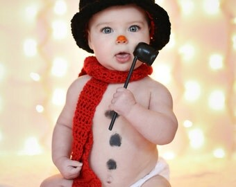 Baby Snowman Top Hat and Scarf - Photo Prop - sizes 6 Month to Toddler - Made to Order - see other listing for newborn size