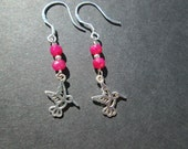 Genuine ruby earrings- sterling silver hummingbirds- July birthstone