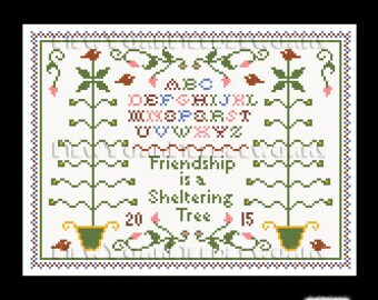 Friendship Sampler, Sampler Cross Stitch, Country Sampler, Small Sampler, Cross Stitch, Country Cross Stitch from NewYorkNeedleworks on Etsy