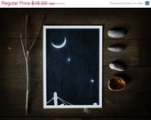 HOLIDAY SALE Celestial Spring Sky, 5x7 illustrated art print, Venus Jupiter conjunction, crescent moon, space, astronomy, stars, planets, bl