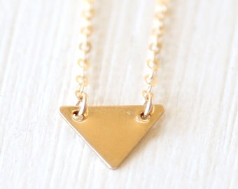 Modern Layering Triangle Necklace // 14K Gold Filled // Sterling Silver // Simple everyday jewelry
