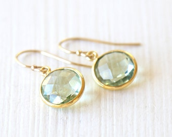 Soft Green Amethyst Dangle Earrings // On 14K gold filled hooks // simple everyday wedding jewelry