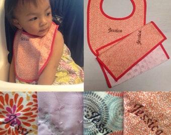 Custom Monogramming for Baby Bib and Burp Cloth Set - Minky Baby Shower Gift - Monogram ONLY