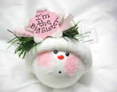 Big Sister Ornament Bigger Sister Christmas Townsend Custom Gifts Handmade Personalized Pink Star