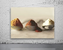 Indian Spice Photo, Still Life FOOD Photography, Spices photo, Three Teaspoons of Spice Photo, Kitchen Art, Indian Spice, Vintage Teaspoons