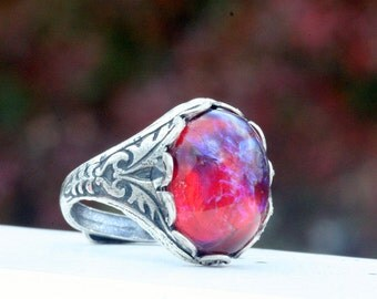 Fire Opal Dragons Breath  Ring Adjustable Mexican Opal Silver Ox Filigree Ring Silver Vintage Glass Fire Opal Gift Christmas Wedding