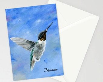 Hummingbird Blues - Greeting Card - Blank Inside