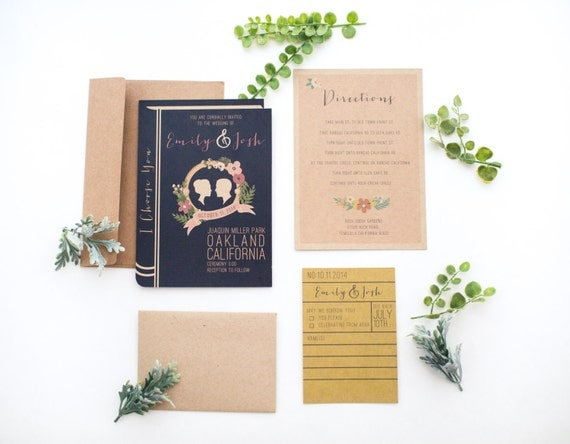 library book wedding invitation set, Wedding invitations