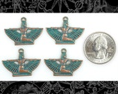 Four Copper Plated Brass with Aqua Finish Mini Winged Egyptian Goddess Pendants or Charms  V-P57