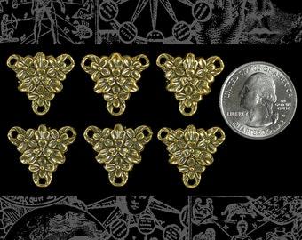 Antique Brass Floral Triangle Connectors - * Set of Six  AB-3C25