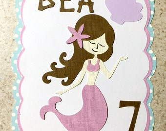Mermaid invitation for birthday or baby shower- 20 pack pink blue purple