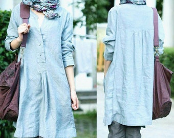 Free Style Pleated Linen Long Blouse / Any Size/ 33 Colors/ RAMIES