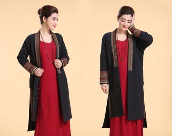 Distinctive Yet Easy to Wear Ethnic Style Embroidered Winter Coat/ Asymmetrical Cotton Padded  Long Cape/ Black and Navy/ RAMIES
