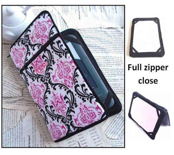 personalized HARD case - ipad case/ kindle case/ nook case/ samsung case/ others - full zipper close - pink damask