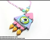 Nyoom Space Necklace, Fairy Kei, Pastel Stars, Handmade. Uchuu-kei, Space Punk