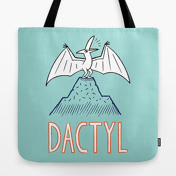 "DACTYL - Dinosaur - Pterodactyl - Light Green - Tote Bag - Book Bag  Record bag - 18"" x 18"""