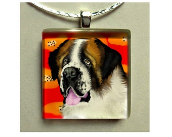 SAINT BERNARD DOG necklace jewelry gift art pet 1 inch glass tile pendant with chain