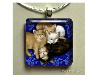 KITTENS cat necklace jewelry art gift pet 1 inch glass tile pendant with chain