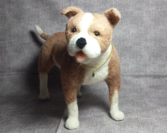 Needle Felted Pit bull Pit Bull Pitty Bully sweet as the real dog is