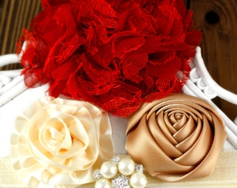 Headband Kit - The EMPRESS - Red and Gold Headband - Hairbow Supplies, Etc.