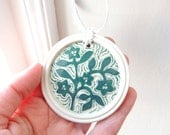 Porcelain Ornament Hand Carved with Blue Green Flower Vines on White