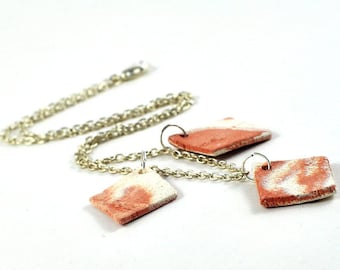 Handmade Diffuser Necklace Ceramic Jewellery Trio of Pendants on Silver Chain Orange Tangerine Brown and White Marbled Diamond Shape Rustic