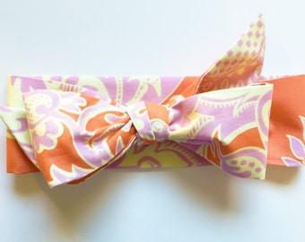 Fabric Bow Headwrap - Sandlewood Tangerine - Infant Headband - Fabric Headband - Baby Headband - Topknot Headband - Toddler Headband