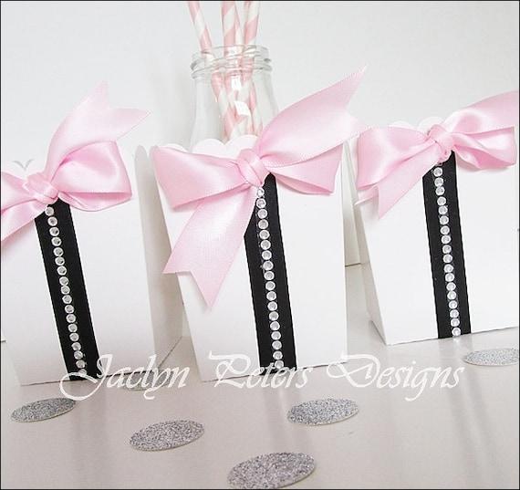 Party Favor Box Paris Theme Black Pink By Jaclynpetersdesigns