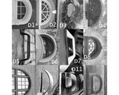 "D, E, F Letter Choices - 3 1/2 x 5"" Black and White Letter Art Photograph"
