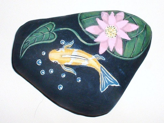 Koi fish pond collectible hand painted rock for Koi fish pond rocks